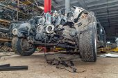 Semi-disassembled Car After An Accident Close-up On The Auto Assembly. Concept Of Car Service, Auto  poster