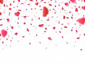 Valentines Day Background With 3d Pink Heart Falling On White Background. Heart Confetti Border. Flo poster