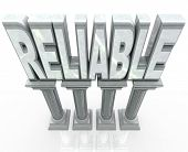 The word Reliable on marble columns or pillars representing dependability, durability, strength and