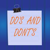 Writing Note Showing Do S And Dont S. Business Photo Showcasing Rules Or Customs Concerning Some Act poster