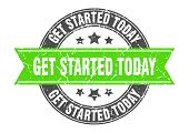 Get Started Today Round Stamp With Green Ribbon. Get Started Today poster