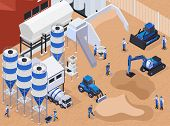 Colored And Flat Concrete Cement Production Isometric Composition With Workers On The Production Vec poster