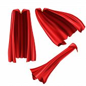 Red Superhero Cape, Cloak With Golden Pin Front And Side View. Fluttering On Wind Rippled Silk Cloth poster