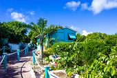 Colorful Tropical Cabana Or Shelter On The Beach Of Half Moon Cay In The Bahamas poster