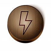 Brown Line Lightning Bolt Icon Isolated On White Background. Flash Sign. Charge Flash Icon. Thunder  poster
