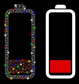 Glowing Mesh Low Battery Level Icon With Sparkle Effect. Abstract Illuminated Model Of Low Battery L poster