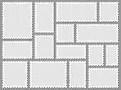 Postcard Stamp Frames. Blank Postage Stamps, Empty Postmark And Square Mark Frame Border Vector Set. poster