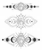 Moons Phases In Mystic Sky. Mother Moon, Hand Drawn Pagan Tattoo Or Sketch Wicca Moon Goddess Vector poster