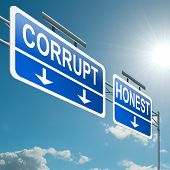 picture of corruption  - Illustration depicting a highway gantry sign with a corrupt or honest concept - JPG