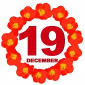 December 19 Icon. For Planning Important Day. Banner For Holidays And Special Days With Flowers. Nin poster