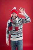 Winter Knitwear. Knitwear Accessories. Mature Man Red Background. Bearded Man In Winter Style. Cauca poster