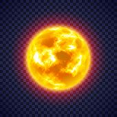 Sun With Corona Atmosphere On Transparent Background. Hot Star Of Solar System. Galaxy Discovery And poster