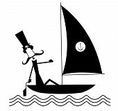 Mustache Man Sails Of The Yacht Isolated Illustrationю Funny Long Mustache Man In The Top Hat Sails  poster