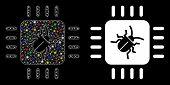 Flare Mesh Hardware Bug Icon With Sparkle Effect. Abstract Illuminated Model Of Hardware Bug. Shiny  poster