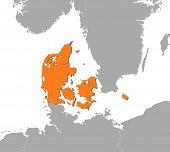 Map Of Danmark poster