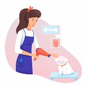 Dog Grooming Service In Veterinary Salon Cartoon. Female Pet Owner, Groomer Taking Care Of Canine, B poster