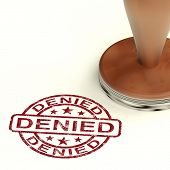 foto of denied  - Denied Rubber Stamp Showing Rejection Or Refusal - JPG