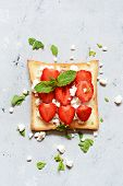 Toast With Fruit Strawberry, Mint And Cottage Cheese For Breakfast. Healthy Breakfast, Ruddy Bread T poster