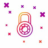 Color Line Safe Combination Lock Wheel Icon Isolated On White Background. Combination Padlock. Secur poster