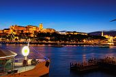 Scenic Night View Of The Buda Side. Stunning Illumination Of The Buda Castle (royal Palace). Blue Ho poster