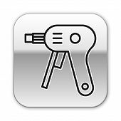 Black Line Electric Hot Glue Gun Icon Isolated On White Background. Hot Pistol Glue. Hot Repair Work poster