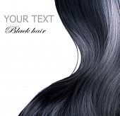 image of hair streaks  - Black Hair over white - JPG