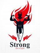 Strongman Muscle Man Combined With Pencil And Fire Flame Into A Symbol, Strong Design Concept, Creat poster