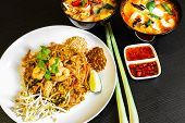 Pad Thai, Or Phad Thai, Is A Stir-fried Rice Noodle Traditional Dish Served As A Street Food In Thai poster