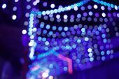 Abstract Background Of String Lights, Blue String Lights, Christmas-lighting, Decoration Lighting, O poster