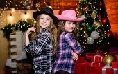 You Are Next. Little Girl Sisters In Red Hats. We Are Family. Elf Children. Xmas Tree. Santa Claus L poster