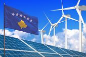 Kosovo Solar And Wind Energy, Renewable Energy Concept With Windmills - Renewable Energy Against Glo poster