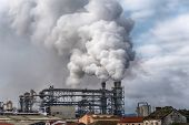 Chemical Factory With Smoke Stack. Smoke Emission From Factory Pipes. Ecology And Environmental Prot poster