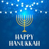 Happy Hanukkah Hand Lettering With String Lights And Menorah Candle On Blue Background. Vector Templ poster