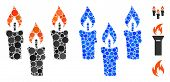 Candles Mosaic Of Small Circles In Variable Sizes And Color Tones, Based On Candles Icon. Vector Sma poster