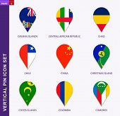 Vertical Pin Icon Set, 9 Country Flag: Cayman Islands, Central African Republic, Chad, Chile, China, poster