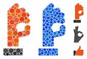 Ok Gesture Mosaic Of Filled Circles In Various Sizes And Color Tints, Based On Ok Gesture Icon. Vect poster