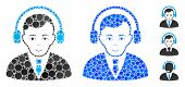 Radio Manager Mosaic Of Spheric Dots In Different Sizes And Color Hues, Based On Radio Manager Icon. poster