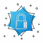 White Line Safe Combination Lock Icon Isolated On White Background. Combination Padlock. Security, S poster