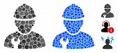 Worker Mosaic Of Filled Circles In Variable Sizes And Color Tinges, Based On Worker Icon. Vector Ran poster