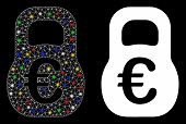 Bright Mesh Euro Weight Icon With Sparkle Effect. Abstract Illuminated Model Of Euro Weight. Shiny W poster