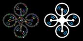 Flare Mesh Flying Quadcopter Icon With Glare Effect. Abstract Illuminated Model Of Flying Quadcopter poster