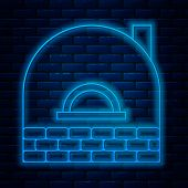 Glowing Neon Line Brick Stove Icon Isolated On Brick Wall Background. Brick Fireplace, Masonry Stove poster