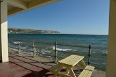 The Seafront At Swanage On The Dorset Coast In Southern England, Seen From A Cafe poster