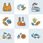 Environment Icons Colored Line Set With Flasks, Energy Saving, Care About World And Other Shopping E poster