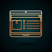 Gold Line Laptop With App Delivery Tracking Icon Isolated On Dark Blue Background. Parcel Tracking.  poster