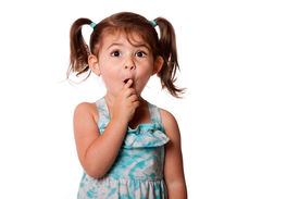 picture of shhh  - Cute surprised little toddler girl with finger in front of mouth making silence shhh gesture isolated - JPG