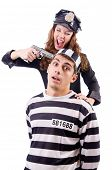 stock photo of inmate  - Police and prison inmate on white - JPG