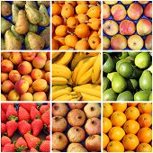 Fresh fruits collage