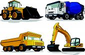 image of tractor-trailer  - A vector set of several construction machines - JPG