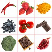 Variety of healthy antioxidants on a white background